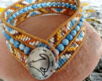 Made to Order Native American Beaded Cuff Bracelet, Beaded Leather Cuff, Seed Bead Bracelet, Woven Beaded Cuff, Coyote Wolf Totem