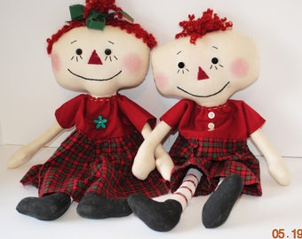 """Primitive Lil Raggedy Dolls, 18"""" Anne and Andy type rag doll set, Red Homespun"""
