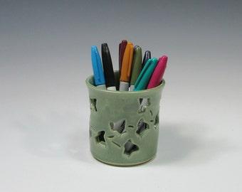 Pencil Holder - Ceramic Pencil Holder - Pottery Sponge Holder - Candle Holder - Green Flower Vase - Kitchen accessory - Votive Candle Holder