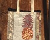 Ananas, sac fourre-tout, cire, ananas, sac réutilisable, poche, shopper, école, plage, Collège, Cabas de marché, gris, kaki