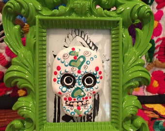 Hand-Painted Mexican Sugar Skull with great lime green frame