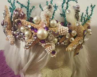Mermaid crown, Mermaid, Mermaid headband, Seahorse, Rhinestone, Ariel, Tiki, Starfish crown, Sealife, Ocean, Nautical