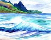 Kauai Tunnels Beach - Kauai Art - 8 x 10 Giclee Art Print - Watercolor Prints - Kauai Art Prints - Hawaii  Art - Hawaiian Art - Makana Mauka