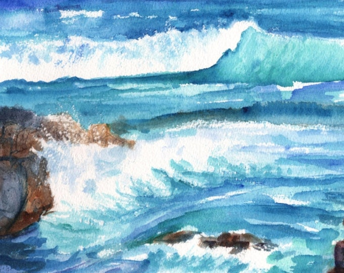 Kauai Ocean Wave -  5x7 Art Print - Kauai Seascape Art - Watercolor Print - Hawaiian Art Prints - Kauai Beach Ocean Art - Home Decor Beaches
