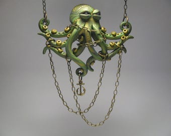 Chained Green Octopus Necklace - Polymer Clay Jewelry - Wearable Art