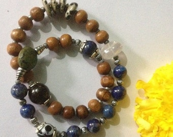 ON SALE Psychic Protector - Lapis Lazuli & Sandalwood Infinity Yoga Bracelet