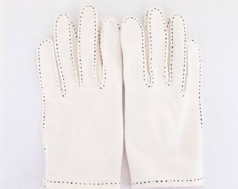 50s White Gloves with Black Stitching - Made in Malta - Size 6.5