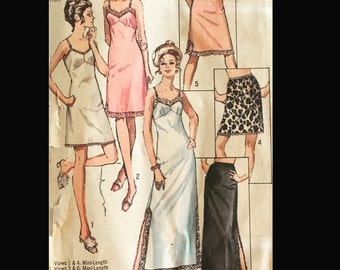 Vintage 60s 70s Slit Lacy Full Half Slip in 3 Lengths Sewing Pattern 9115 B44