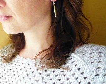 Gold Pod Earrings. Long Gold Geometric Earrings. Gold Grain of Rice Earrings. 14K Gold Filled and Brass Earrings. Gold Rice Earrings.