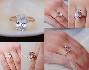 Blake Lively engagement ring. White Sapphire Engagement Ring Oval engagement  ring. 14k rose gold engagement ring 5.33ct white sapphire ring