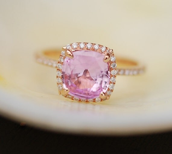 Pink sapphire ring. Engagement ring. Anniversary ring. Peach Pink Sapphire ring. 2.07ct square cushion sapphire 14k rose gold diamond ring.