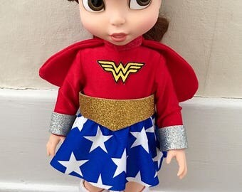 """Super Hero Type costume for 16"""" doll such as the Disney Animator doll - possibly Wonder Woman/Girl parody"""