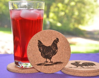 Rooster and Hen Cork Coasters, Set of Four Assorted Round or Square Chicken Coasters, Country Decor - #12
