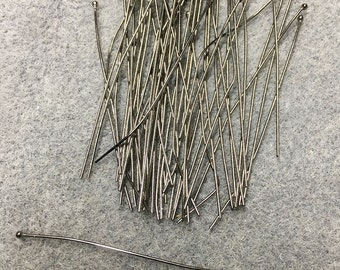 50 Gunmetal Ball End Brass Head Pins 2 inch Headpins 23 gauge F331A