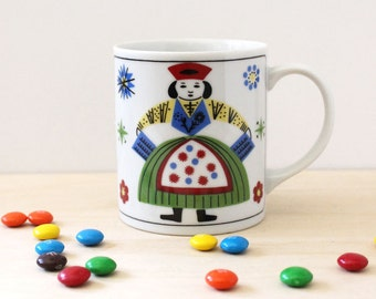 Vintage 1980s coffee mug. Good Old Days folk art style.