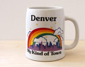 Denver, My Kind of Town. Vintage 1980s souvenir rainbow Papel stein mug.