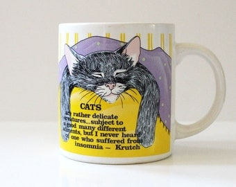 Sleeping Cat. Vintage 1980s cat mug.