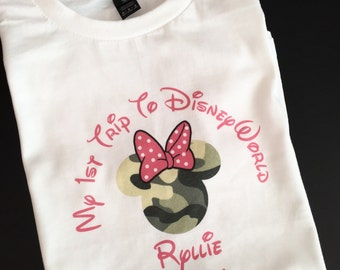 Custom Personalized My 1st Trip to Disney World Mouse Ears with Bow T Shirt - Camo Mouse Ears with Bow