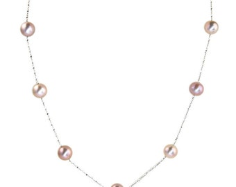 "Long 42"" Cultured Pearl Station Necklace Solid 14K or 18K Gold (all colors)  Custom Made"
