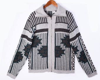 80's SOUTHWEST zip-up cardigan // vintage cardigan sweater // ethnic design // men's size M // made in USA