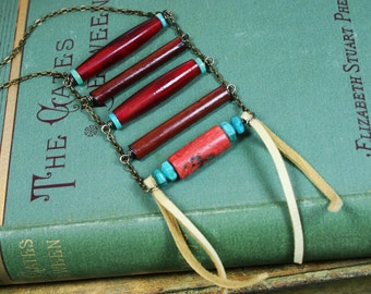 Native Boho Ladder Necklace with Red Buffalo Horn, Turquoise, Wood, Coral and Leather