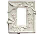 Hummingbird Ceramic Single Rocker Light Switch Cover in Off White Glaze