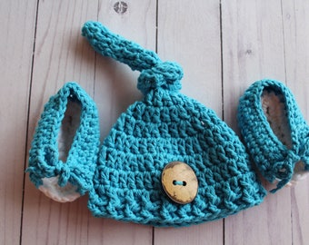 Baby Crochet Hat, with Booties,Infant,Newborn, photo prop, beanie hat,Blue