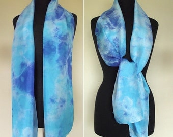 Hand Dyed Shibori Silk Scarf, Turquoise and Blue Silk,  Straight  or Infinity Loop Scarf 14x72""