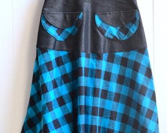 Checkered Skirt, Flannel Skirt, Vintage style skirt, High waisted skirt, Midi Skirt, knee length skirt
