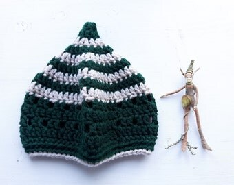 INKCAP Crochet Gnome Hat, Bottle green, Parchment