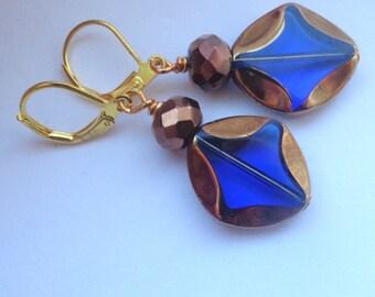 Blue  Earrings Dangle Earrings Golden earrings Leverback Earrings Blue Jewelry glass earrings SALE