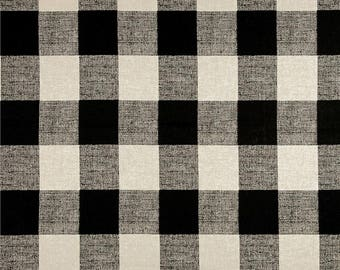 Black Linen Check Kitchen Cafe Curtains - 2 panels/ 1 pair - Custom sizes and matching valance available - Premier Anderson Check Fabric