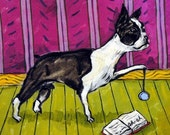 30% off Boston Terrier playing with a yoyo picture Dog Art Tile Coaster gift
