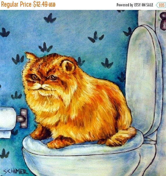 SALE 10 % off for holiday Chinchilla Persian Cat in the Bathroom Art Tile
