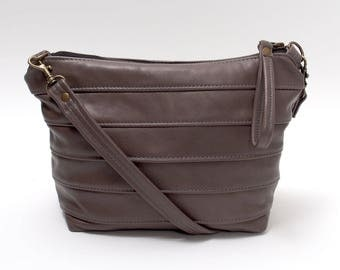 Grey Cross Body Leather Purse  Gray Handbag
