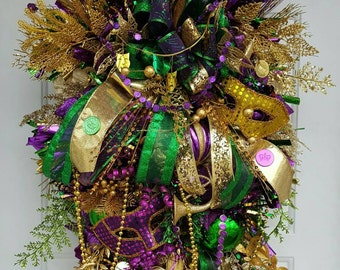 XXXL Huge Mardi Gras wreath, Fat Tuesday, Huge, door swag, wreath,  handmade wreath, Fleur De Lis, Masquerade  New Orleans