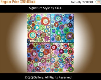 """Colorful Abstract Painting Original modern art Home Decor Wall art canvas art """"Kaleidoscope"""" painting by QiQiGallery"""
