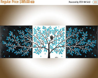"Turquoise black white Love birds painting set of 3 wall art wall decor acrylic Impasto canvas art ""Life Is Beautiful"" by qiqigallery"