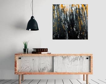"""Black white gold modern absatract large square art Original painting canvas art gift for men wall decor wall art """"Awakening""""by QiQiGallery"""