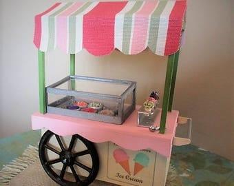 Dollhouse miniature Ice cream vendor cart 1:12 scale