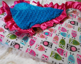 """SALE  Double Minky Baby Girl  Blanket with ruffle  30"""" X 36"""" Can be personalized"""