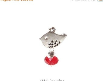 50% Off 5 pcs Little Bird Charms with Red Crystal Drops DA1011L G16