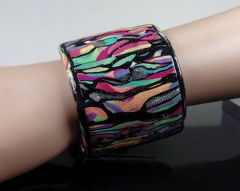 Polymer clay cuff bracelet, adjustable, multi-colored