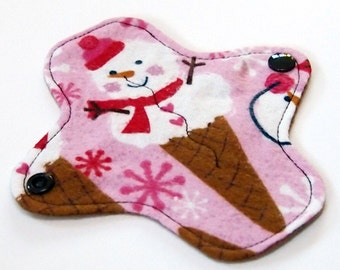 """6"""" Reusable Cloth winged ULTRATHIN Pantyliner -Cotton flannel top - Snowcones"""