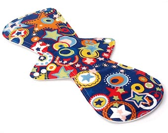15 inch Reusable Cloth Menstrual pad- OVERNIGHT flow -bamboo core - PUL - quilter's cotton top - Retro Cowboy