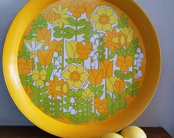Vintage 70s Mod Floral Serving Tray, Hallmark