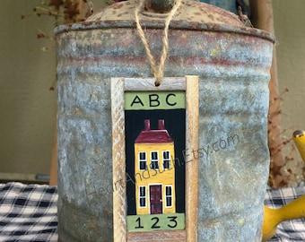 2 x 4 Mini Rustic Farmhouse Painting - Yellow House