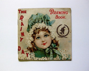 Rare Vintage/Antique Childrens' Rainy Day Drawing Book, Book, Advertising Farrand Organ, with Tissue Paper Protectors, Unused
