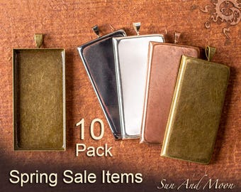 Sale - 10 Pack 1x2 inch Pendant Trays Rectangle Settings - Spring Sale Items