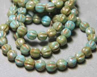 6mm Blue Turquoise Fluted Glass Czech Melon Beads (25)